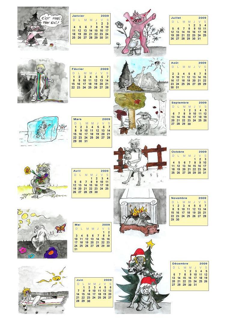 calendrier sur une page A4